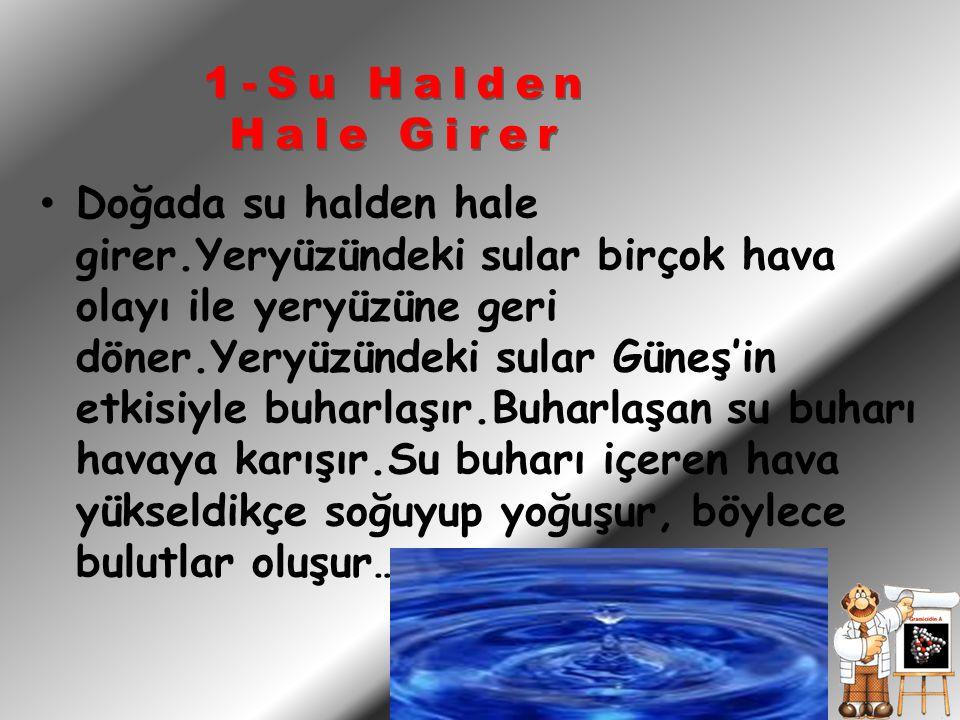 Doğada su halden hale girer.Yeryüzündeki sular birçok hava olayı ile yeryüzüne geri döner.Yeryüzündeki sular Güneş'in etkisiyle buharlaşır.Buharlaşan su buharı havaya karışır.Su buharı içeren hava yükseldikçe soğuyup yoğuşur, böylece bulutlar oluşur… 1-Su Halden Hale Girer