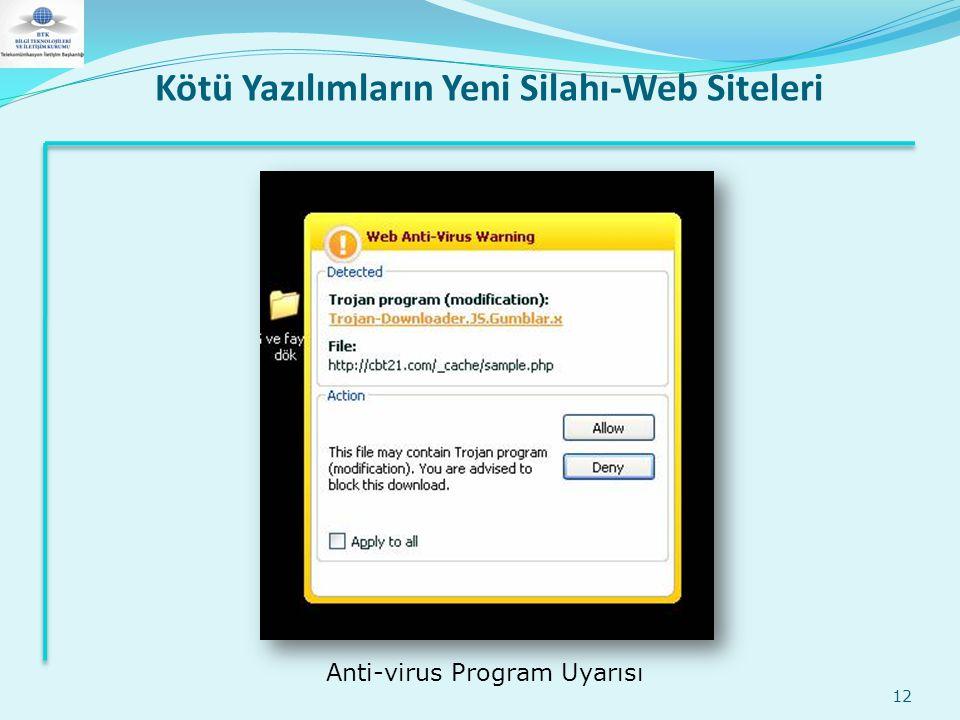 Kötü Yazılımların Yeni Silahı-Web Siteleri 12 Anti-virus Program Uyarısı