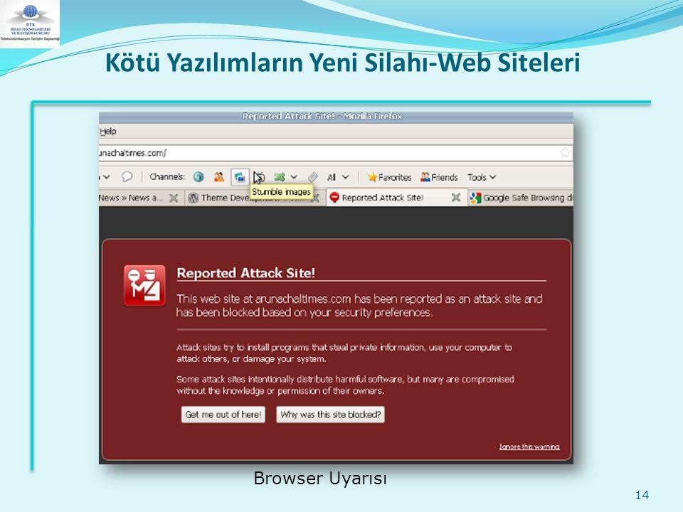 Kötü Yazılımların Yeni Silahı-Web Siteleri 14 Browser Uyarısı