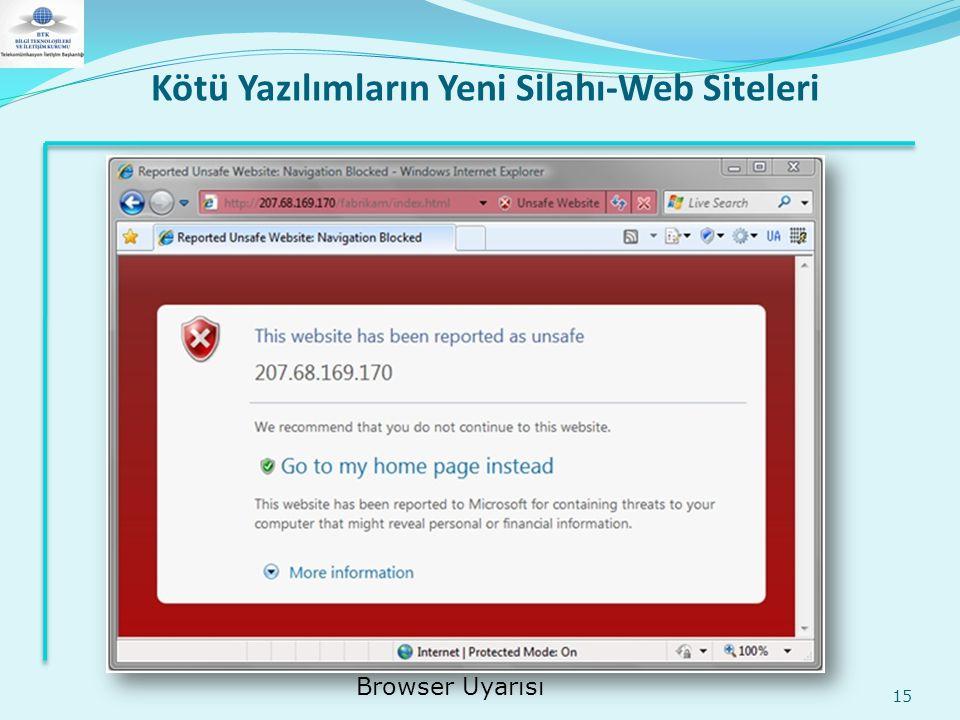 Kötü Yazılımların Yeni Silahı-Web Siteleri 15 Browser Uyarısı