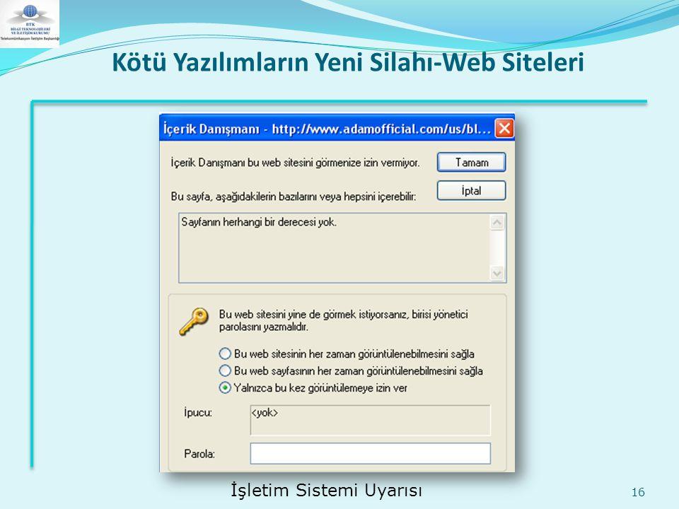 Kötü Yazılımların Yeni Silahı-Web Siteleri 16 İşletim Sistemi Uyarısı