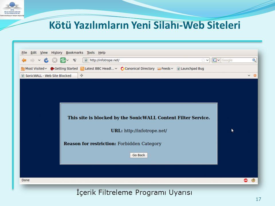 Kötü Yazılımların Yeni Silahı-Web Siteleri 17 İçerik Filtreleme Programı Uyarısı