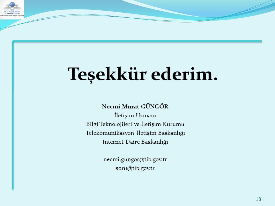Teşekkür ederim. 18 Necmi Murat GÜNGÖR İletişim Uzmanı Bilgi Teknolojileri ve İletişim Kurumu Telekomünikasyon İletişim Başkanlığı İnternet Daire Başk