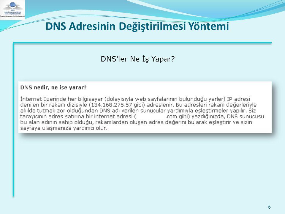 DNS Adresinin Değiştirilmesi Yöntemi 6 DNS'ler Ne İş Yapar?