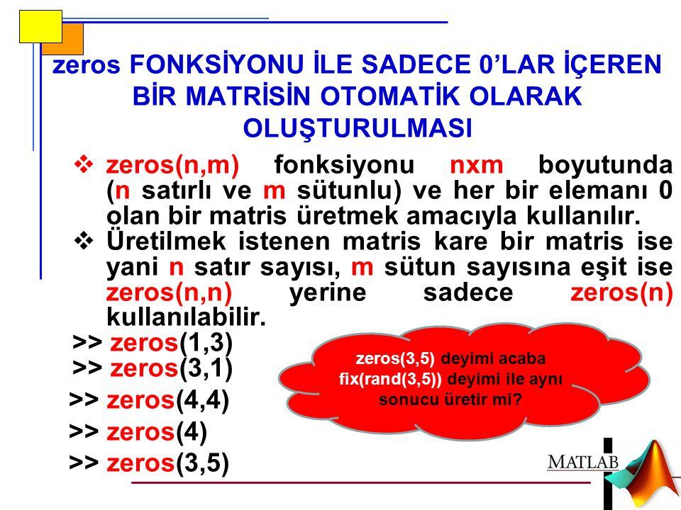 zeros FONKSİYONU İLE SADECE 0'LAR İÇEREN BİR MATRİSİN OTOMATİK OLARAK OLUŞTURULMASI  zeros(n,m) fonksiyonu nxm boyutunda (n satırlı ve m sütunlu) ve