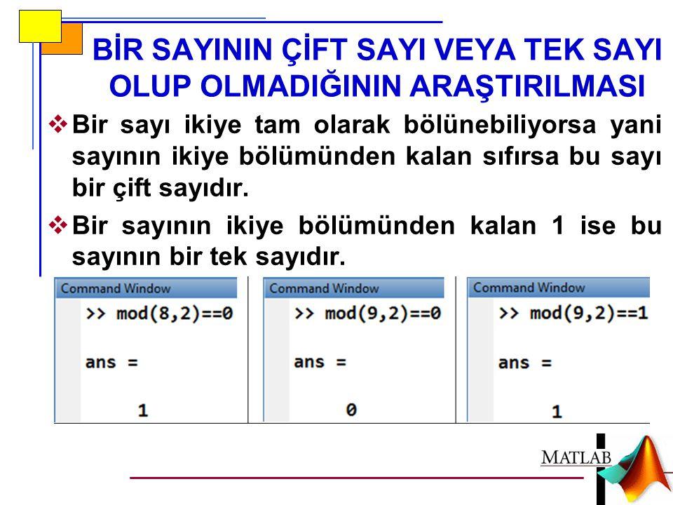 rand FONKSİYONU RASTGELE SAYI ÜRETİMİ  rand(n,m) fonksiyonu MATLAB'de nxm boyutunda ve elemanları rastgele sayılar olan bir matris oluşturur.