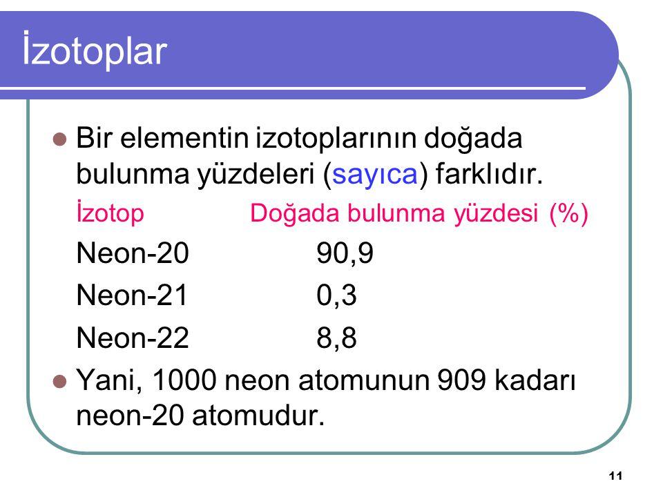 11 İzotoplar Bir elementin izotoplarının doğada bulunma yüzdeleri (sayıca) farklıdır.