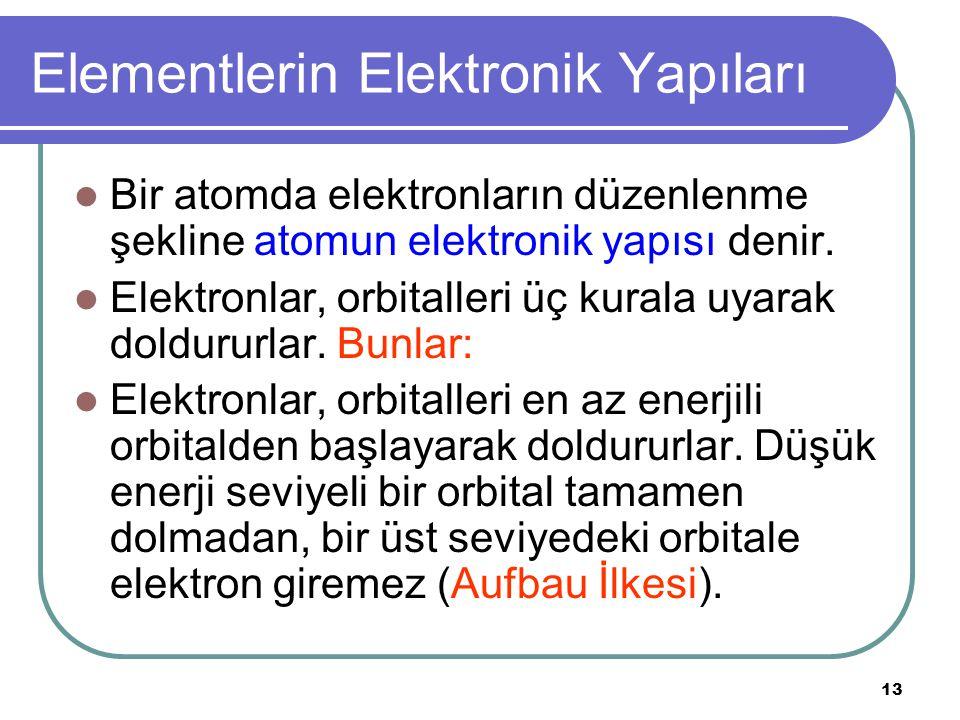 13 Elementlerin Elektronik Yapıları Bir atomda elektronların düzenlenme şekline atomun elektronik yapısı denir.