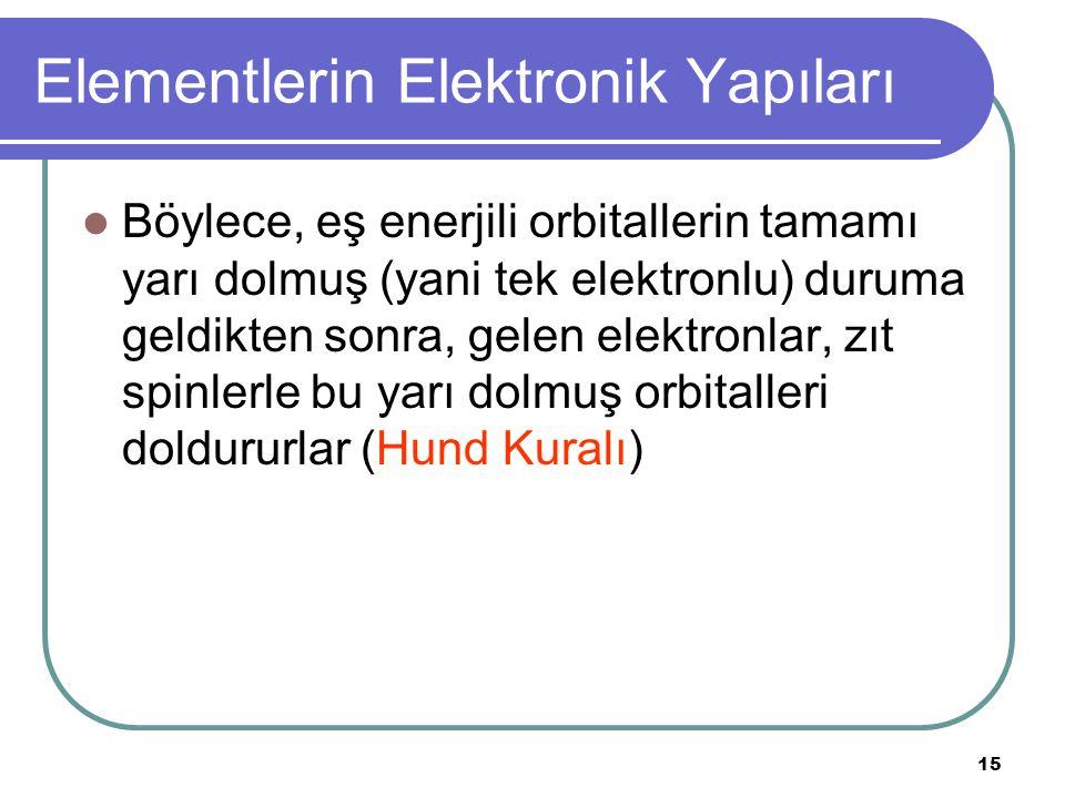 15 Elementlerin Elektronik Yapıları Böylece, eş enerjili orbitallerin tamamı yarı dolmuş (yani tek elektronlu) duruma geldikten sonra, gelen elektronlar, zıt spinlerle bu yarı dolmuş orbitalleri doldururlar (Hund Kuralı)