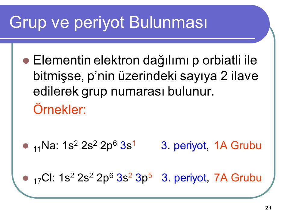 21 Grup ve periyot Bulunması Elementin elektron dağılımı p orbiatli ile bitmişse, p'nin üzerindeki sayıya 2 ilave edilerek grup numarası bulunur.