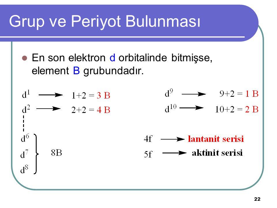 22 Grup ve Periyot Bulunması En son elektron d orbitalinde bitmişse, element B grubundadır.