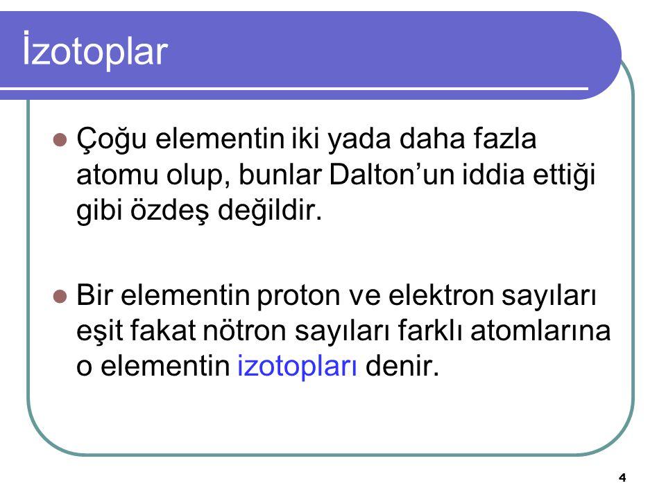5 İzotoplar Bir elementin çekirdeğindeki proton ve nötron sayısının toplamına o elementin kütle numarası denir.