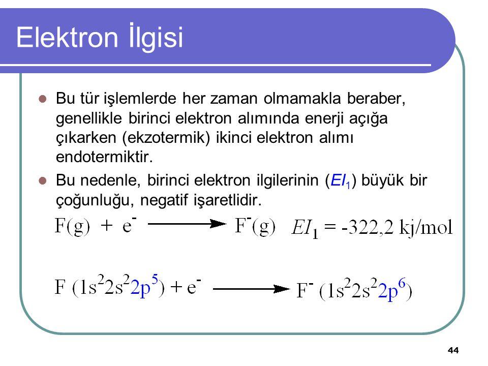 44 Elektron İlgisi Bu tür işlemlerde her zaman olmamakla beraber, genellikle birinci elektron alımında enerji açığa çıkarken (ekzotermik) ikinci elektron alımı endotermiktir.