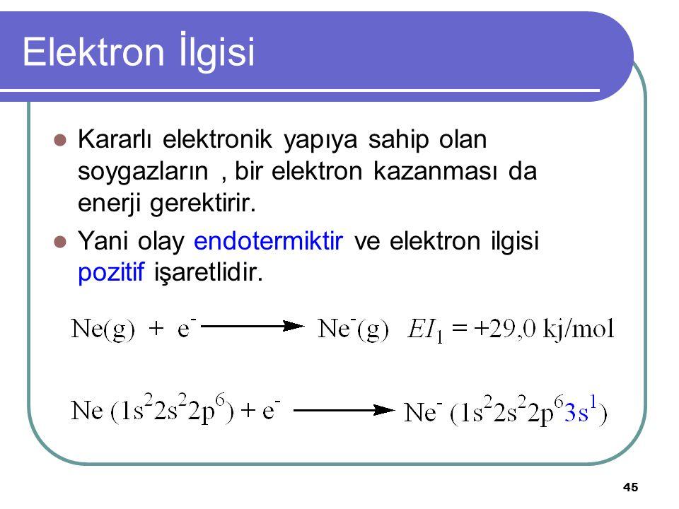 45 Elektron İlgisi Kararlı elektronik yapıya sahip olan soygazların, bir elektron kazanması da enerji gerektirir.