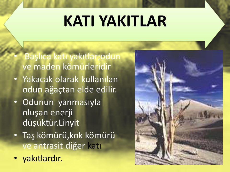 KATI YAKITLAR Başlıca katı yakıtlar;odun ve maden kömürleridir Yakacak olarak kullanılan odun ağaçtan elde edilir.