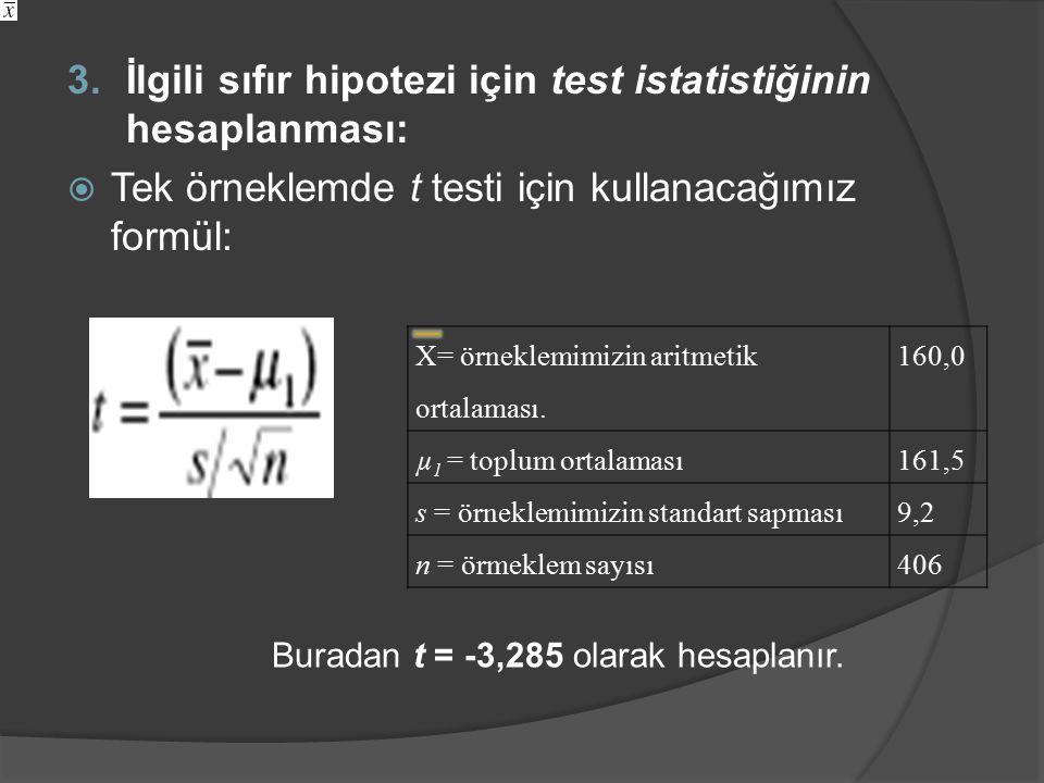 3.İlgili sıfır hipotezi için test istatistiğinin hesaplanması:  Tek örneklemde t testi için kullanacağımız formül: Buradan t = -3,285 olarak hesaplanır.