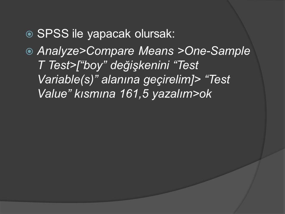  SPSS ile yapacak olursak:  Analyze>Compare Means >One-Sample T Test>[ boy değişkenini Test Variable(s) alanına geçirelim]> Test Value kısmına 161,5 yazalım>ok