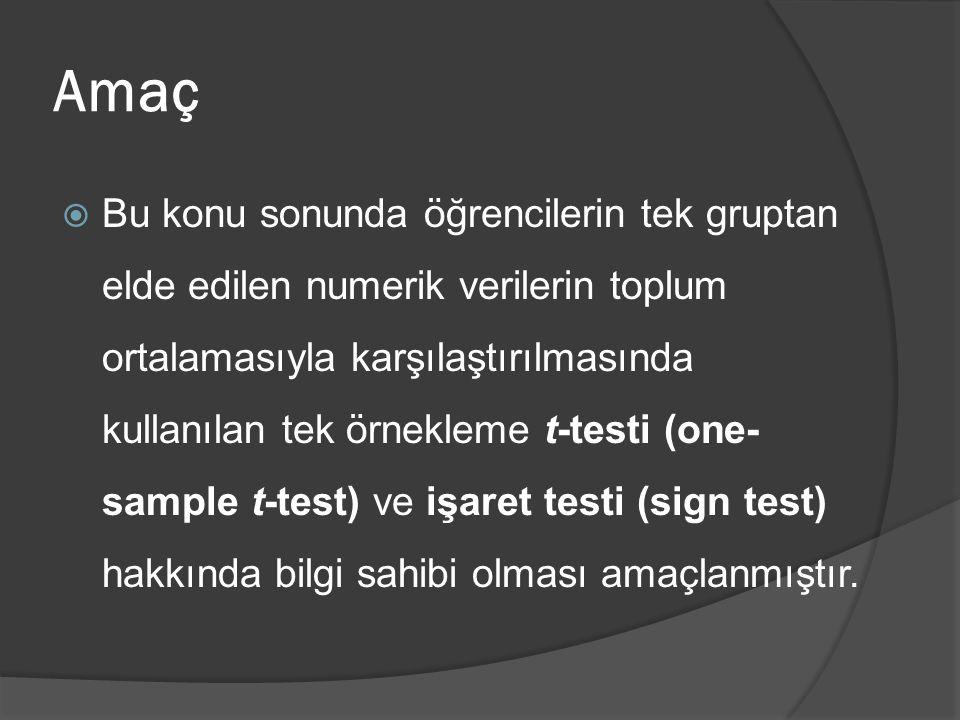 Öğrenim Hedefleri  Hedefler: Bu konu sonunda öğrencilerin aşağıdaki hedeflere ulaşması beklenmektedir:  Tek örneklemde t-testi varsayımlarını açıklayabilmek  SPSS ile tek örneklemde t-testi yapabilmek  İşaret testinin kullanım yerini tartışabilmek  İşaret testinin nasıl yapılacağını açıklayabilmek