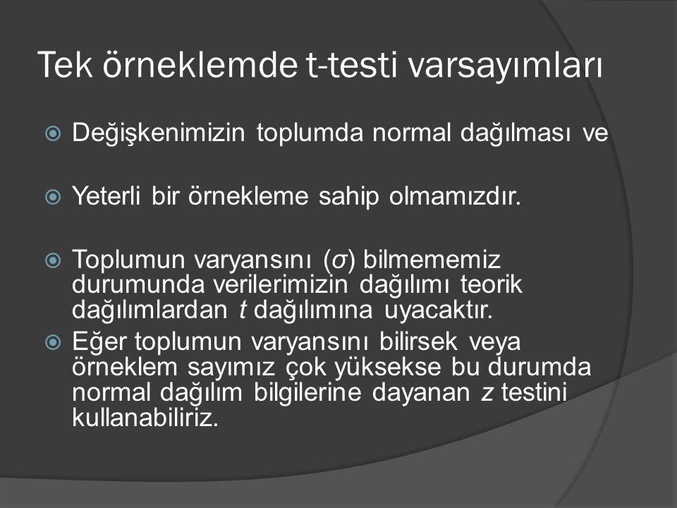 Tek örneklemde t-testi varsayımları  Değişkenimizin toplumda normal dağılması ve  Yeterli bir örnekleme sahip olmamızdır.  Toplumun varyansını (σ)