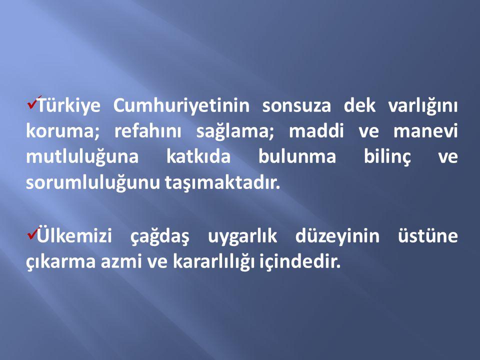 Türkiye Cumhuriyetinin sonsuza dek varlığını koruma; refahını sağlama; maddi ve manevi mutluluğuna katkıda bulunma bilinç ve sorumluluğunu taşımaktadı