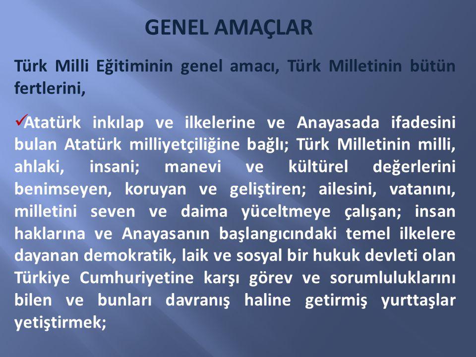 Türk Milli Eğitiminin genel amacı, Türk Milletinin bütün fertlerini, Atatürk inkılap ve ilkelerine ve Anayasada ifadesini bulan Atatürk milliyetçiliği