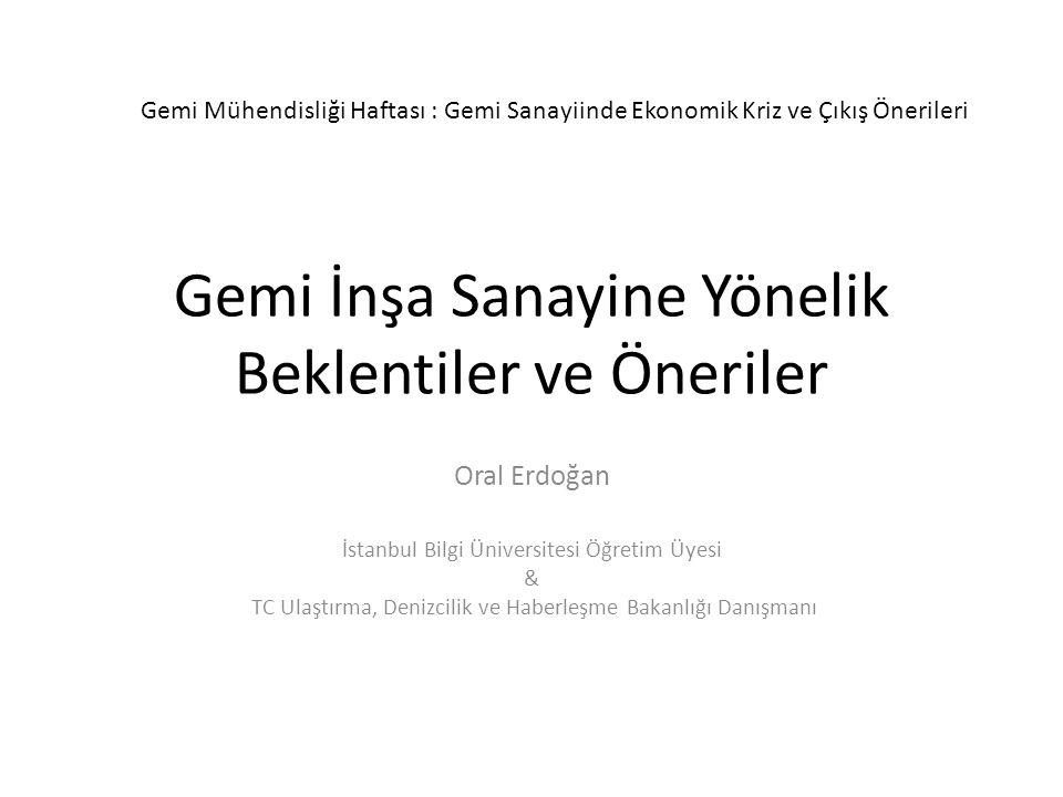 Gemi İnşa Sanayine Yönelik Beklentiler ve Öneriler Oral Erdoğan İstanbul Bilgi Üniversitesi Öğretim Üyesi & TC Ulaştırma, Denizcilik ve Haberleşme Bakanlığı Danışmanı Gemi Mühendisliği Haftası : Gemi Sanayiinde Ekonomik Kriz ve Çıkış Önerileri