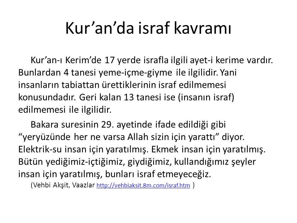 Kur'an'da israf kavramı Kur'an-ı Kerim'de 17 yerde israfla ilgili ayet-i kerime vardır. Bunlardan 4 tanesi yeme-içme-giyme ile ilgilidir. Yani insanla