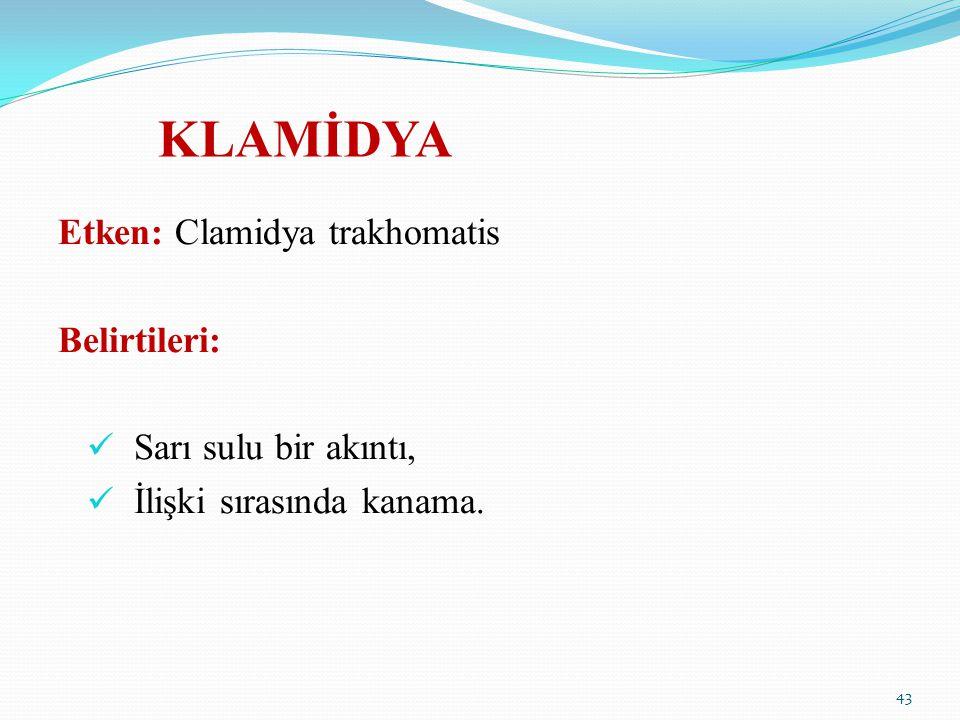 KLAMİDYA Etken: Clamidya trakhomatis Belirtileri: Sarı sulu bir akıntı, İlişki sırasında kanama. 43