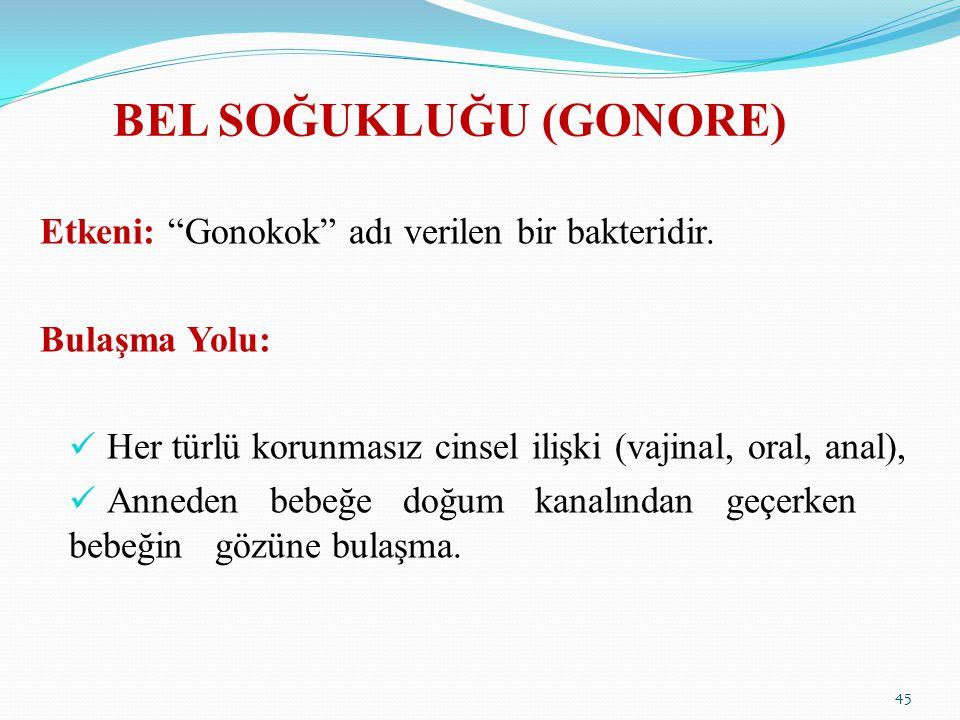 """BEL SOĞUKLUĞU (GONORE) Etkeni: """"Gonokok"""" adı verilen bir bakteridir. Bulaşma Yolu: Her türlü korunmasız cinsel ilişki (vajinal, oral, anal), Anneden b"""