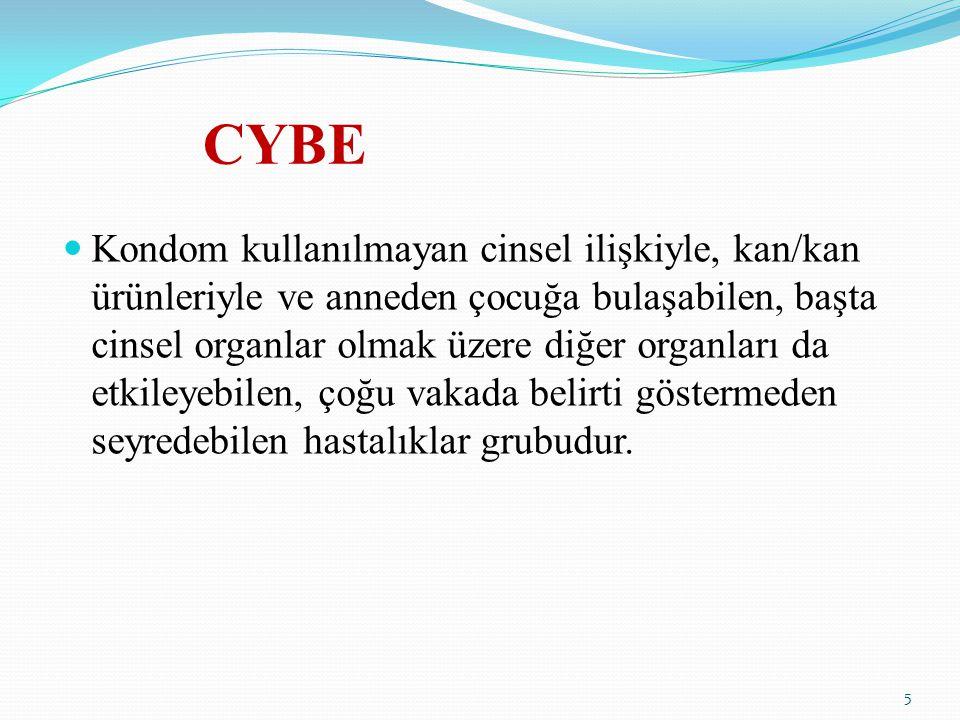 CYBE Kondom kullanılmayan cinsel ilişkiyle, kan/kan ürünleriyle ve anneden çocuğa bulaşabilen, başta cinsel organlar olmak üzere diğer organları da et