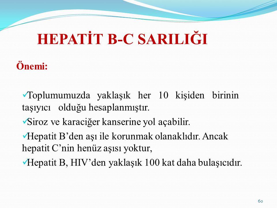 HEPATİT B-C SARILIĞI Önemi: Toplumumuzda yaklaşık her 10 kişiden birinin taşıyıcı olduğu hesaplanmıştır. Siroz ve karaciğer kanserine yol açabilir. He