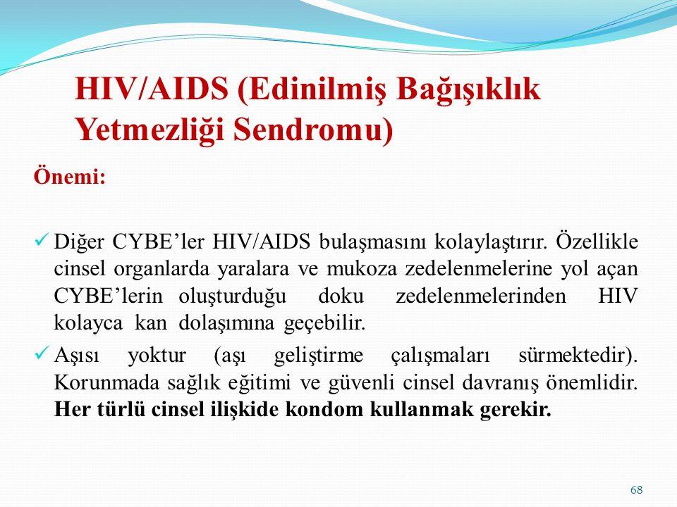 HIV/AIDS (Edinilmiş Bağışıklık Yetmezliği Sendromu) Önemi: Diğer CYBE'ler HIV/AIDS bulaşmasını kolaylaştırır. Özellikle cinsel organlarda yaralara ve