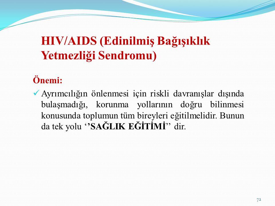 HIV/AIDS (Edinilmiş Bağışıklık Yetmezliği Sendromu) Önemi: Ayrımcılığın önlenmesi için riskli davranışlar dışında bulaşmadığı, korunma yollarının doğr