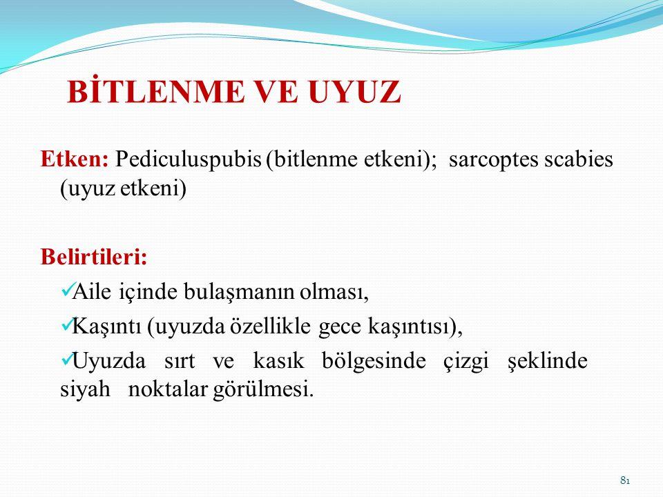 BİTLENME VE UYUZ Etken: Pediculuspubis (bitlenme etkeni); sarcoptes scabies (uyuz etkeni) Belirtileri: Aile içinde bulaşmanın olması, Kaşıntı (uyuzda
