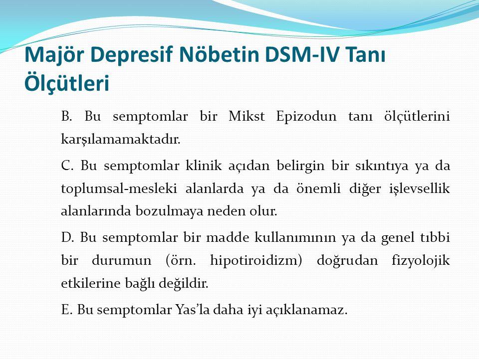 Majör Depresif Nöbetin DSM-IV Tanı Ölçütleri B. Bu semptomlar bir Mikst Epizodun tanı ölçütlerini karşılamamaktadır. C. Bu semptomlar klinik açıdan be