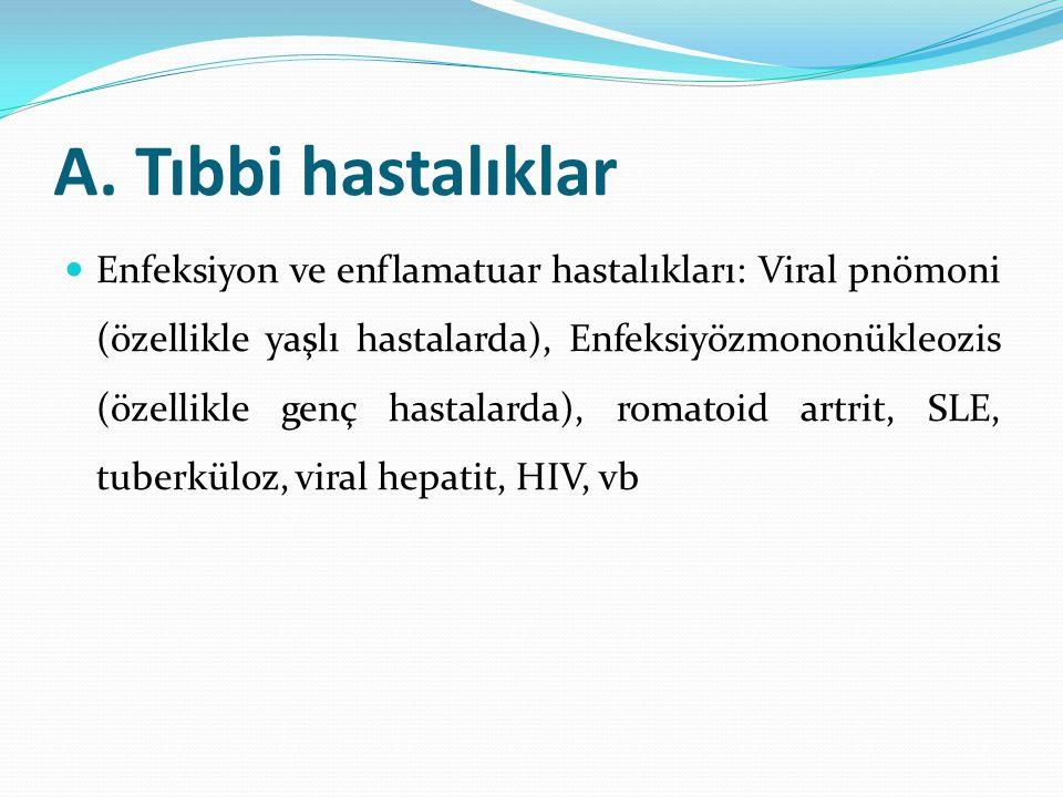 A. Tıbbi hastalıklar Enfeksiyon ve enflamatuar hastalıkları: Viral pnömoni (özellikle yaşlı hastalarda), Enfeksiyözmononükleozis (özellikle genç hasta