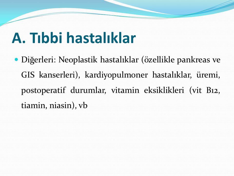 A. Tıbbi hastalıklar Diğerleri: Neoplastik hastalıklar (özellikle pankreas ve GIS kanserleri), kardiyopulmoner hastalıklar, üremi, postoperatif duruml
