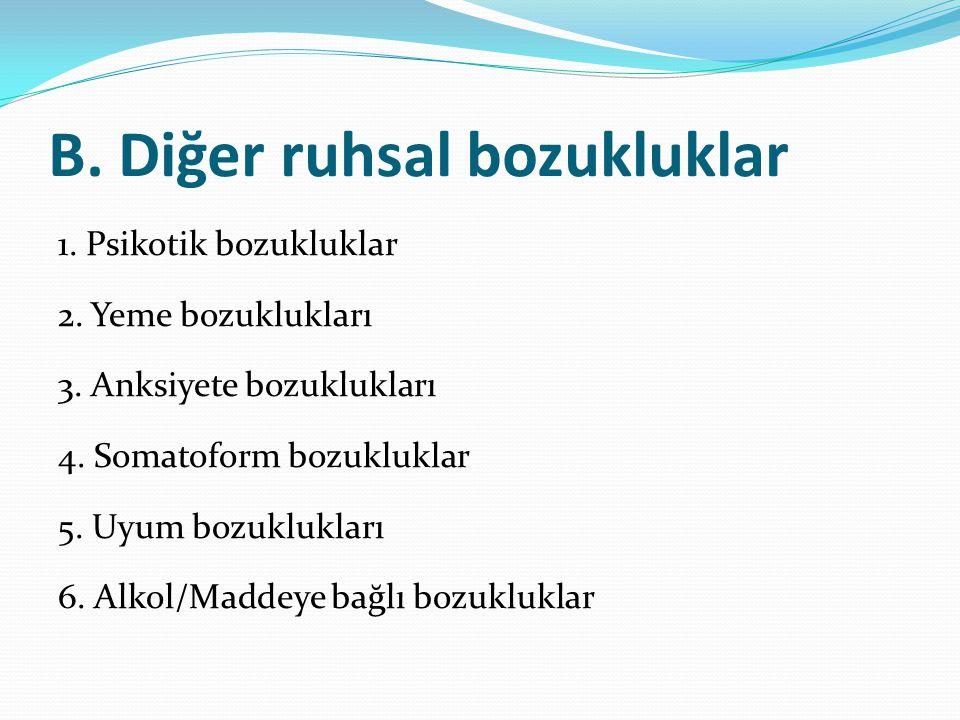 B. Diğer ruhsal bozukluklar 1. Psikotik bozukluklar 2. Yeme bozuklukları 3. Anksiyete bozuklukları 4. Somatoform bozukluklar 5. Uyum bozuklukları 6. A