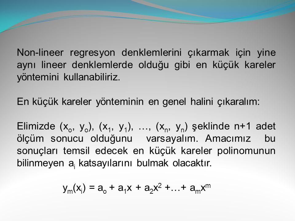 Bu değerleri denklem sisteminde yerine koyarak: Bu denklem sisteminin çözülmesi ile a o = 7.02 ve a 1 = 0.339 Bulunur.