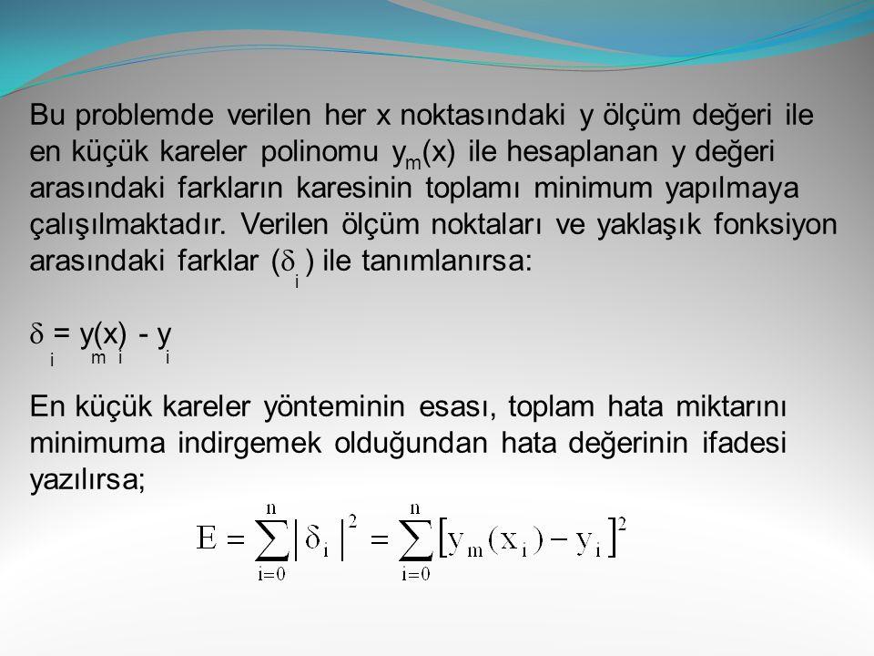 Bu ifadenin a ve b katsayılarına göre türevi alınarak sıfıra eşitlenirse