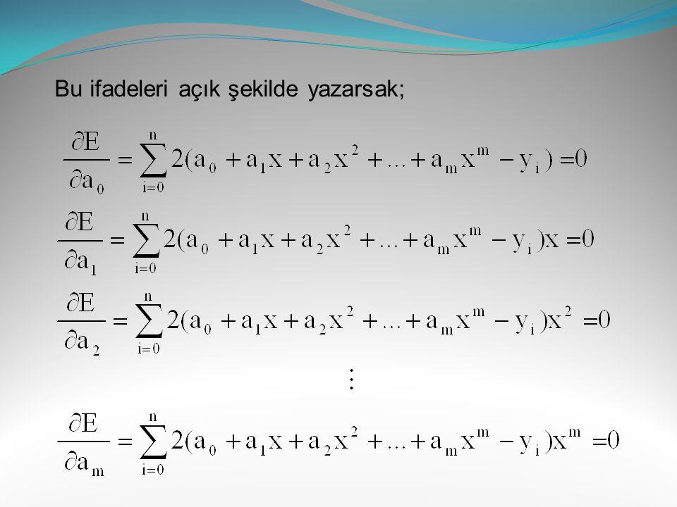 Bu ifadeyi düzenlersek aşağıdaki lineer denklem takımı elde edilir: