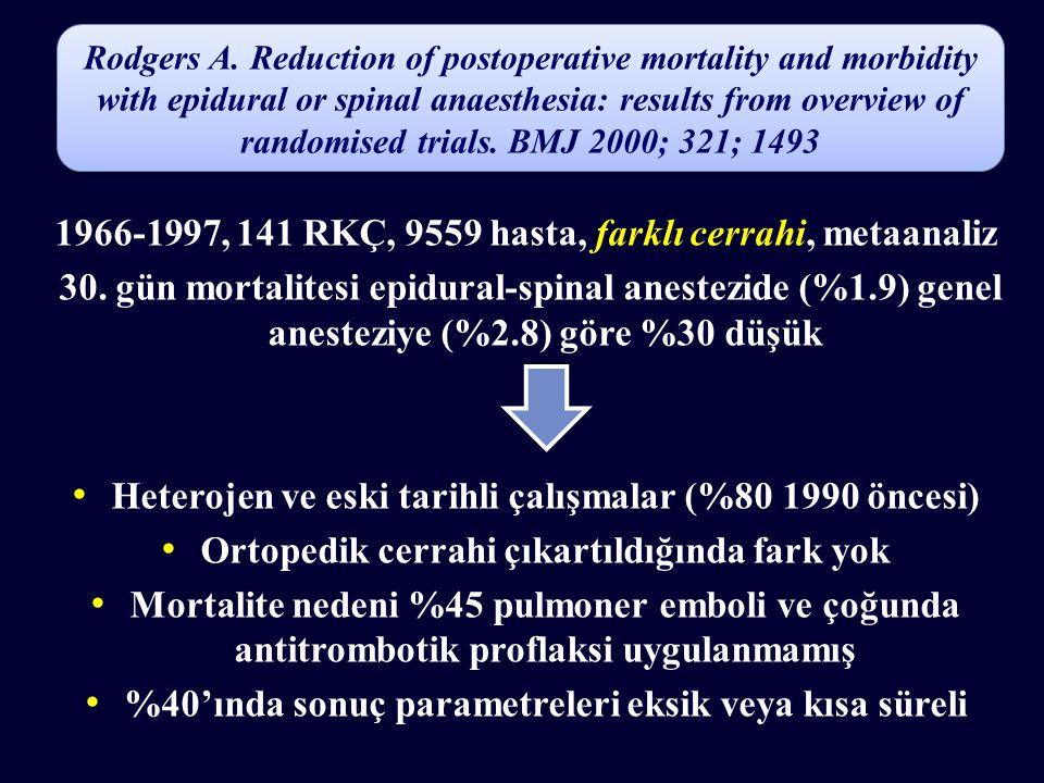 1966-1997, 141 RKÇ, 9559 hasta, farklı cerrahi, metaanaliz 30. gün mortalitesi epidural-spinal anestezide (%1.9) genel anesteziye (%2.8) göre %30 düşü