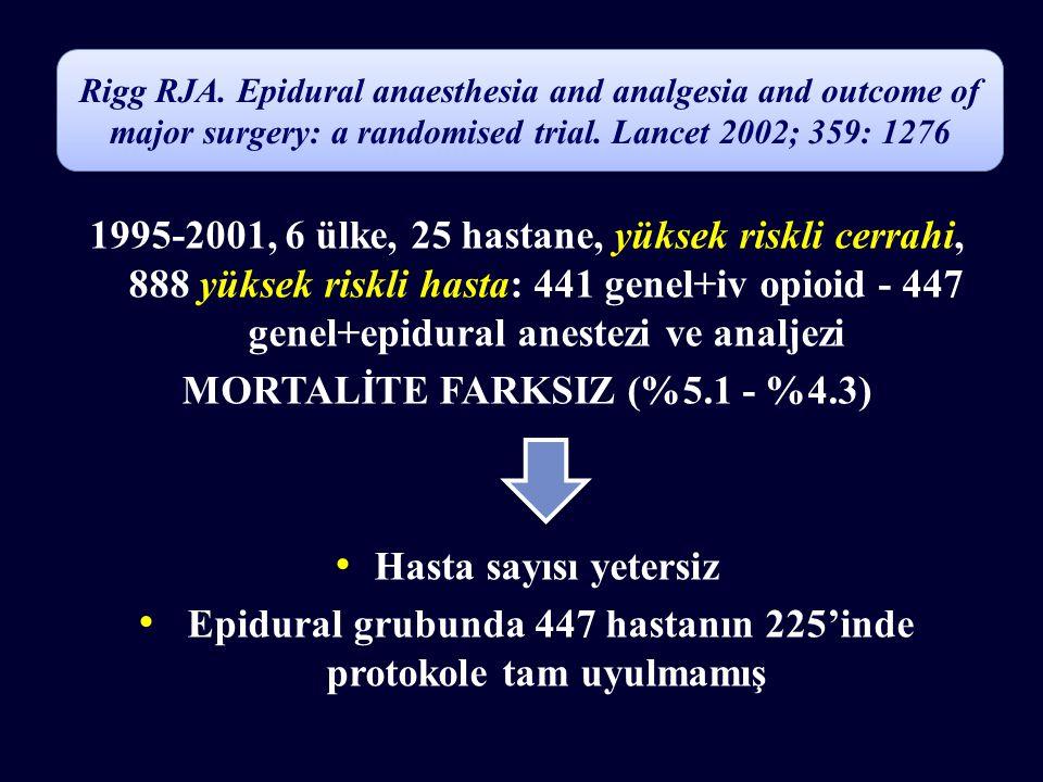 1995-2001, 6 ülke, 25 hastane, yüksek riskli cerrahi, 888 yüksek riskli hasta: 441 genel+iv opioid - 447 genel+epidural anestezi ve analjezi MORTALİTE FARKSIZ (%5.1 - %4.3) Hasta sayısı yetersiz Epidural grubunda 447 hastanın 225'inde protokole tam uyulmamış Rigg RJA.