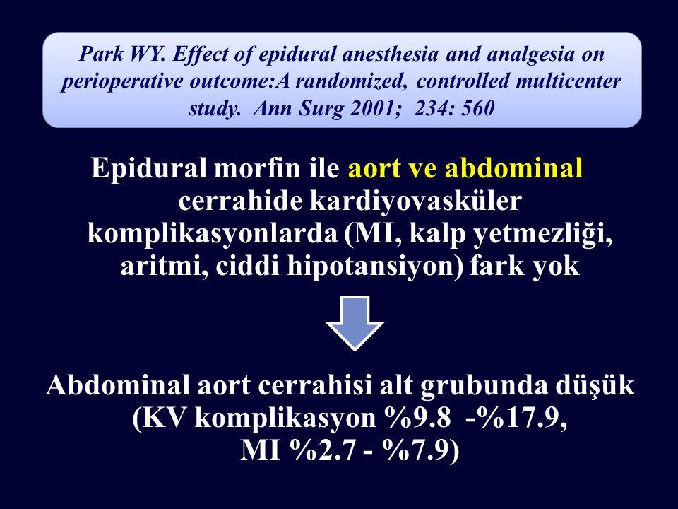 Epidural morfin ile aort ve abdominal cerrahide kardiyovasküler komplikasyonlarda (MI, kalp yetmezliği, aritmi, ciddi hipotansiyon) fark yok Abdominal aort cerrahisi alt grubunda düşük (KV komplikasyon %9.8 -%17.9, MI %2.7 - %7.9) Park WY.