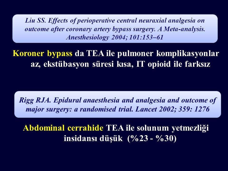 Koroner bypass da TEA ile pulmoner komplikasyonlar az, ekstübasyon süresi kısa, IT opioid ile farksız Abdominal cerrahide TEA ile solunum yetmezliği insidansı düşük (%23 - %30) Liu SS.