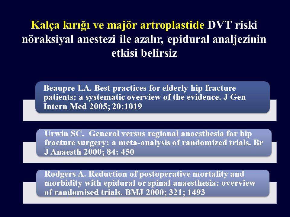 Kalça kırığı ve majör artroplastide DVT riski nöraksiyal anestezi ile azalır, epidural analjezinin etkisi belirsiz Beaupre LA.