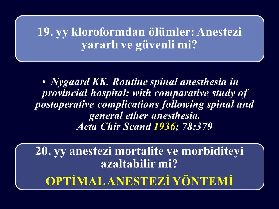 19. yy kloroformdan ölümler: Anestezi yararlı ve güvenli mi? Nygaard KK. Routine spinal anesthesia in provincial hospital: with comparative study of p