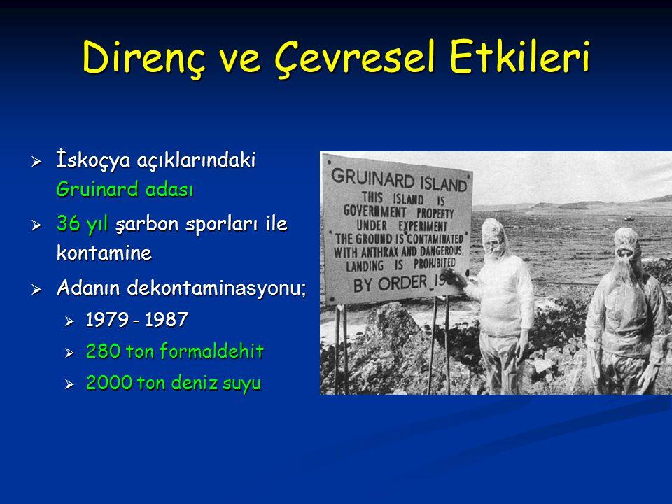 Direnç ve Çevresel Etkileri  İskoçya açıklarındaki Gruinard adası  36 yıl şarbon sporları ile kontamine  Adanın dekontami nasyonu;  1979 - 1987 