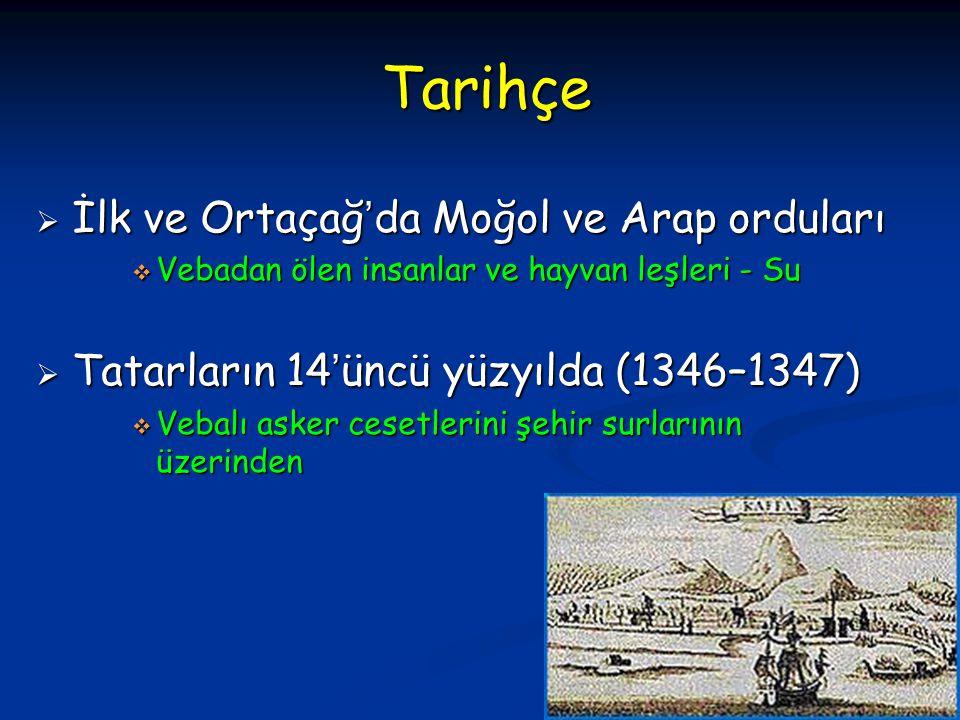 Tarihçe  İlk ve Ortaçağ'da Moğol ve Arap orduları  Vebadan ölen insanlar ve hayvan leşleri - Su  Tatarların 14'üncü yüzyılda (1346–1347)  Vebalı a