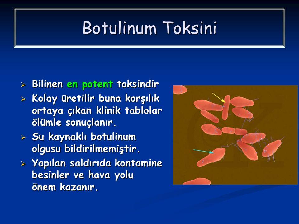 Botulinum Toksini  Bilinen en potent toksindir  Kolay üretilir buna karşılık ortaya çıkan klinik tablolar ölümle sonuçlanır.  Su kaynaklı botulinum